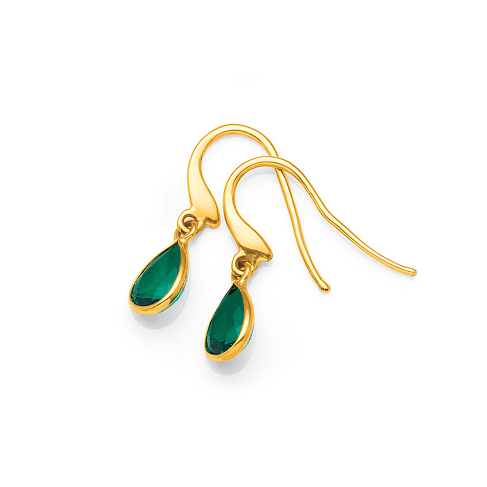 9ct Gold Created Emerald Hook Earrings