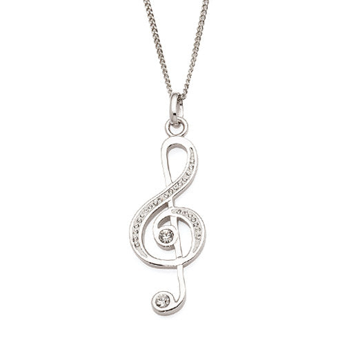 Sterling Silver Treble Clef Crystal Pendant