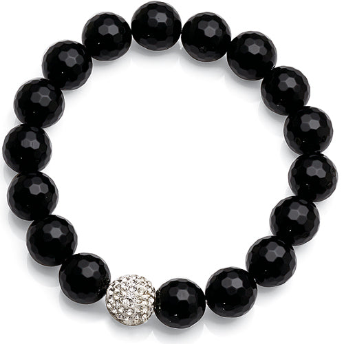 Black Beaded Crystal Bracelet