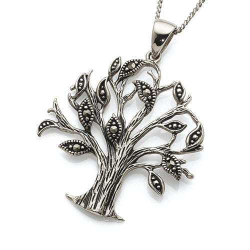 Sterling Silver Marcasite Tree of Life Pendant