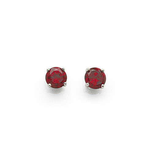 Sterling Silver 5mm Red Cubic Zirconia Studs