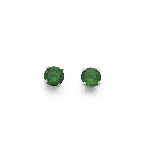 Sterling Silver 5mm Green Cubic Zirconia Studs
