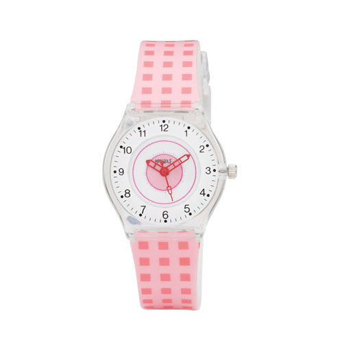 Mr Wolf Pink Check Slimline Watch