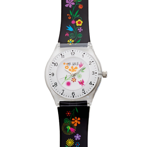 Mr Wolf Black Flower Slimline Watch