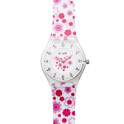 Mr Wolf  White Flower Slimline Watch
