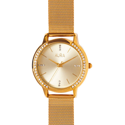 Aura Gold-Tone Mesh Watch 163229