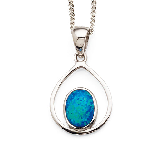 Sterling Silver Created Opal Pendant