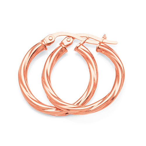9ct Rose Gold 15mm Twist Hoops