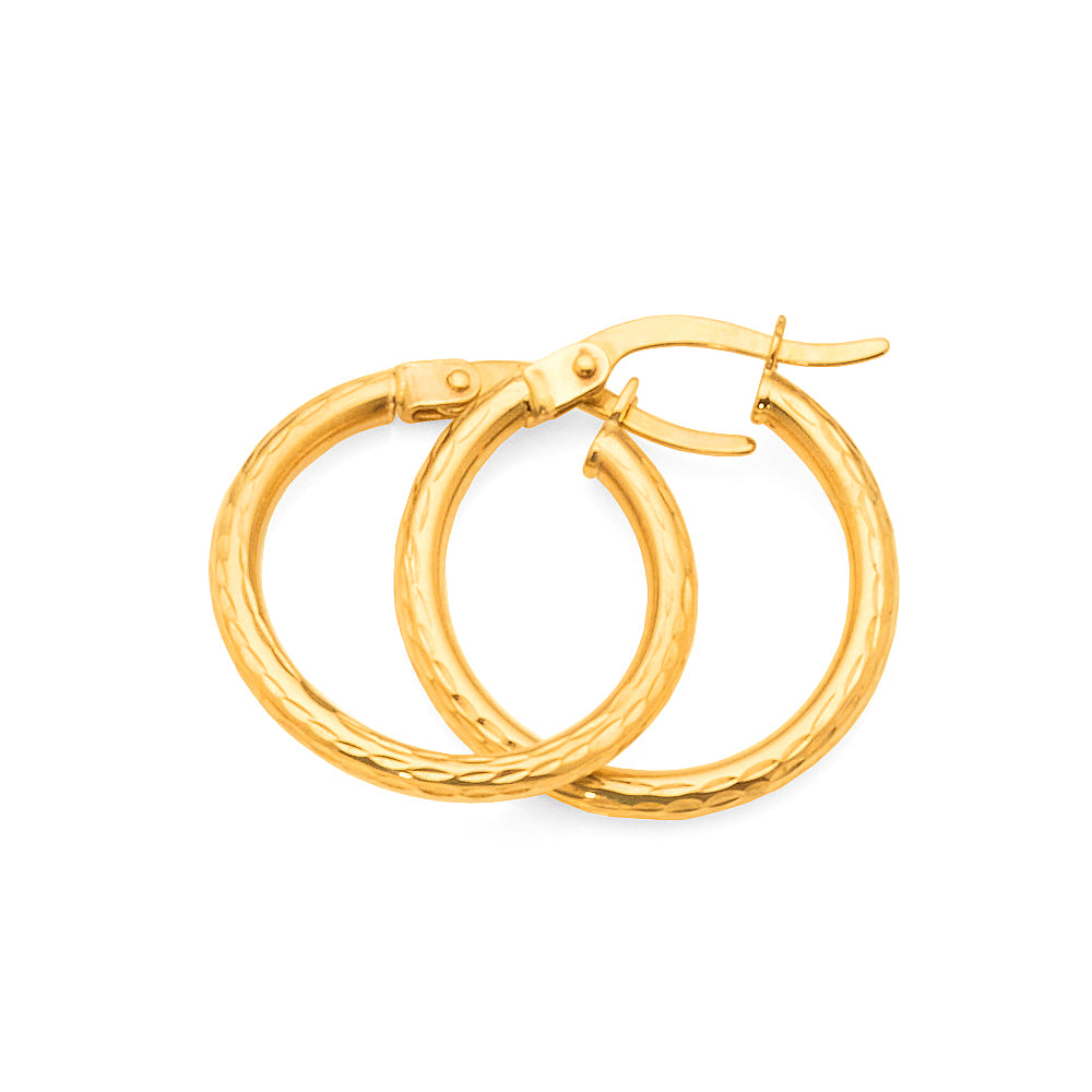 9ct Gold 15mm Hoops