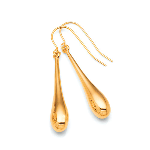 Yellow Gold Bonded Teardrop Hook Earrings
