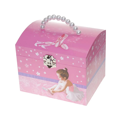 Pink Ballerina Dome Top Musical Jewel Box With Pearl Handle