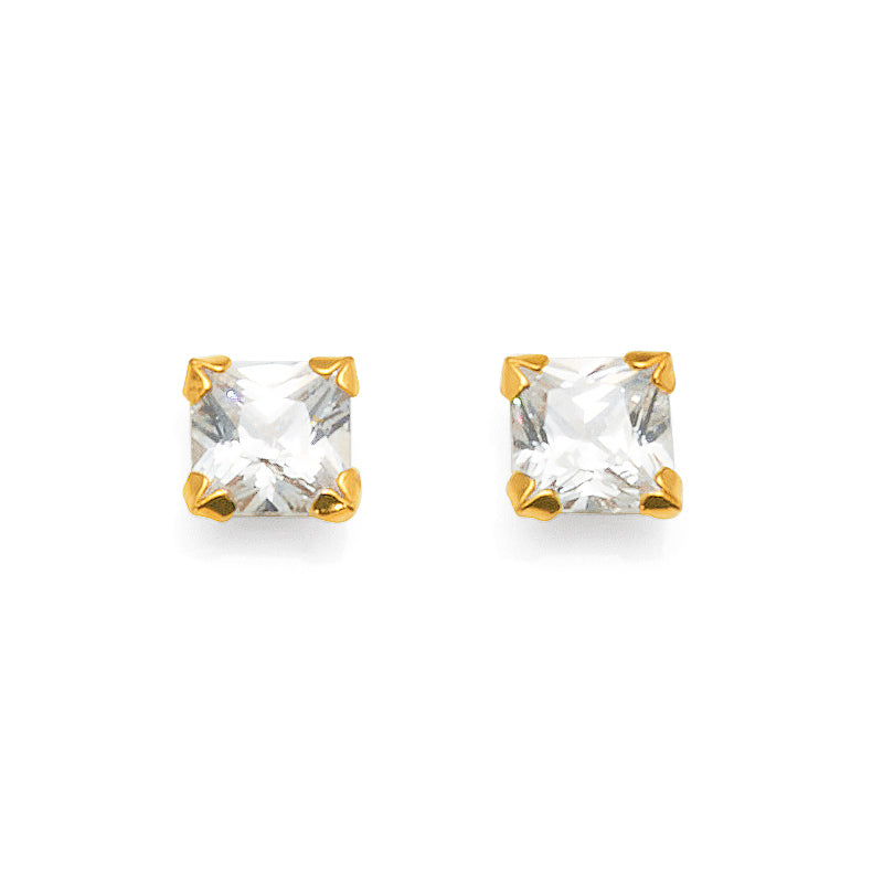 9ct Yellow Gold Cubic Zirconia 5mm Studs