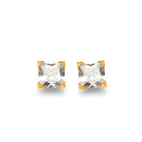 9ct Yellow Gold Cubic Zirconia 6mm Studs