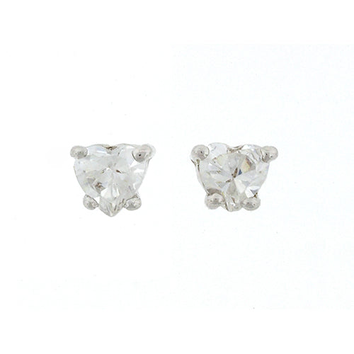 Sterling Silver Heart Cubic Zirconia Studs