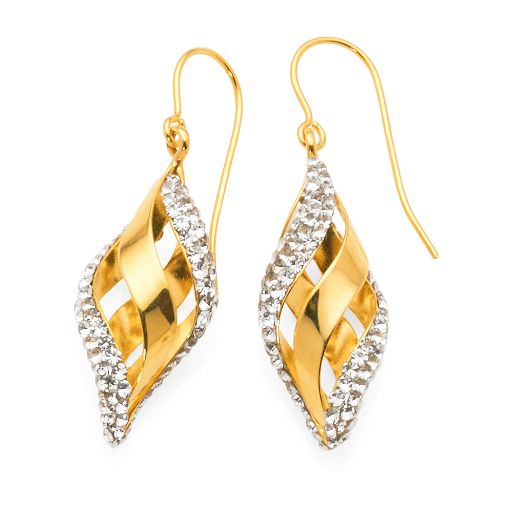 Yellow Gold Bonded Crystal Hook Earrings
