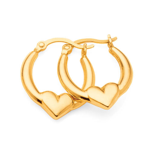 Gold Bonded 10mm Tapered Heart Hoops