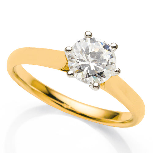1ct Diamond Solitaire Ring in 18ct Yellow Gold