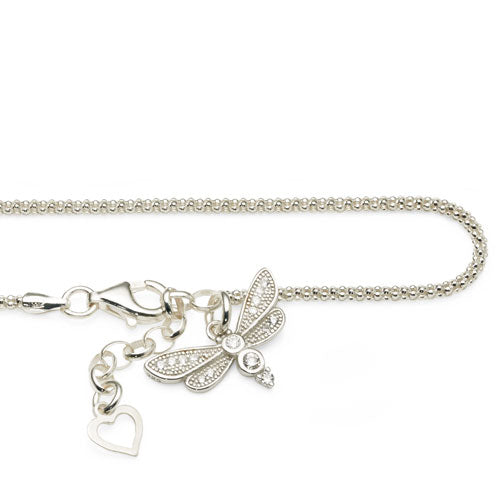 Sterling Silver Cubic Zirconia Dragonfly Anklet