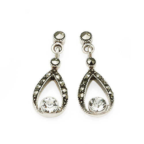 Sterling Silver Marcasite Drop Stud Earrings