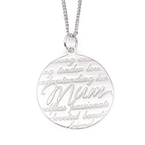 Sterling Silver 'Mum' Disc Pendant