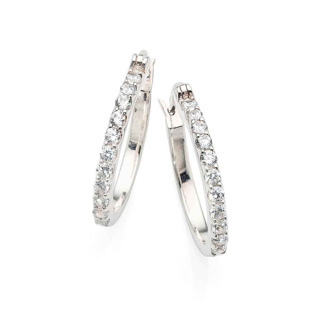 Sterling Silver Cubic Zirconia 17mm Hoops