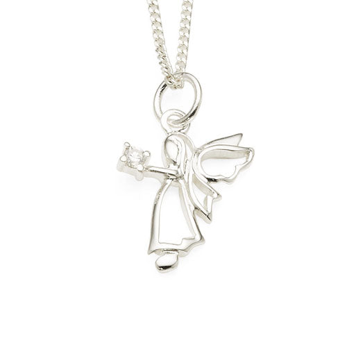 Sterling Silver Cubic Zirconia Angel Pendant