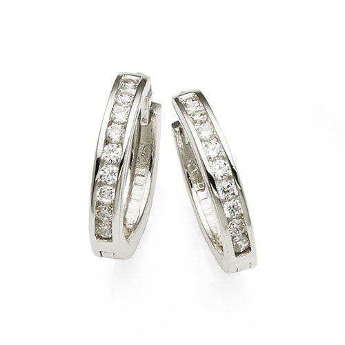 Sterling Silver Cubic Zirconia 14mm Hoops