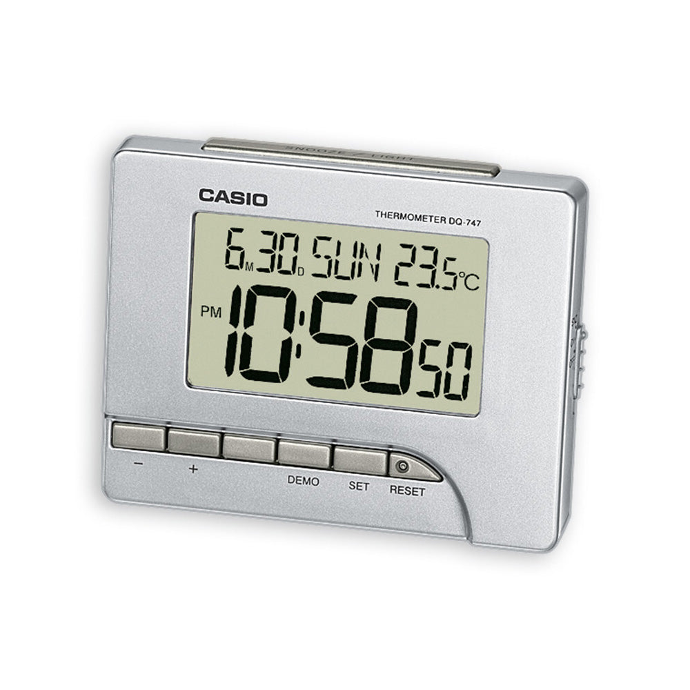 Casio Silver Digital Bedside Alarm Clock With Thermometer DQ