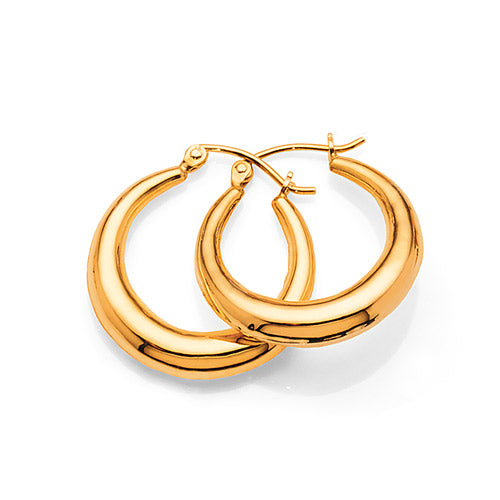 Gold Bonded 15mm Tapered Round Tube Hoops