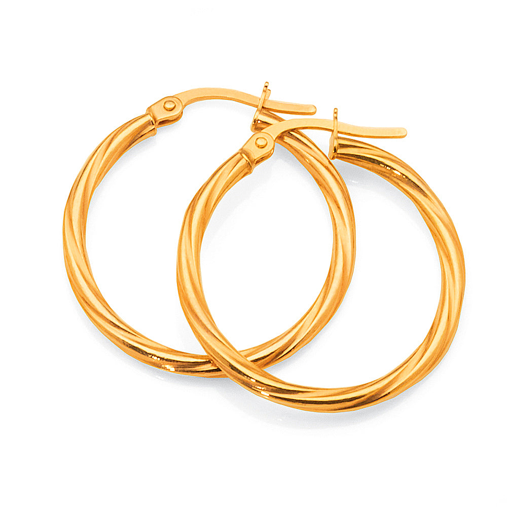 9ct Yellow Gold 20mm Twist Hoops