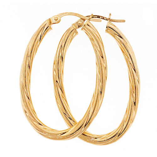 9ct Gold 25x18mm Oval Hoop Earrings
