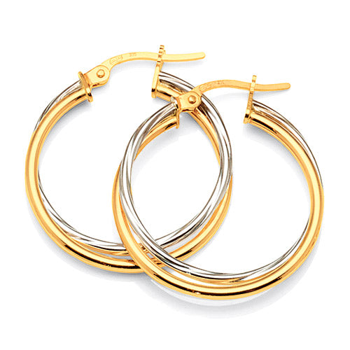 9ct Yellow & White Gold 2-Tone 20mm Twist Hoops