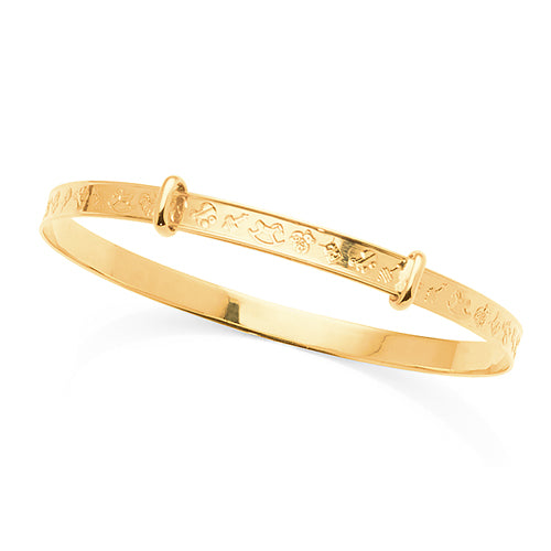9ct Yellow Gold Expandable Baby Bangle
