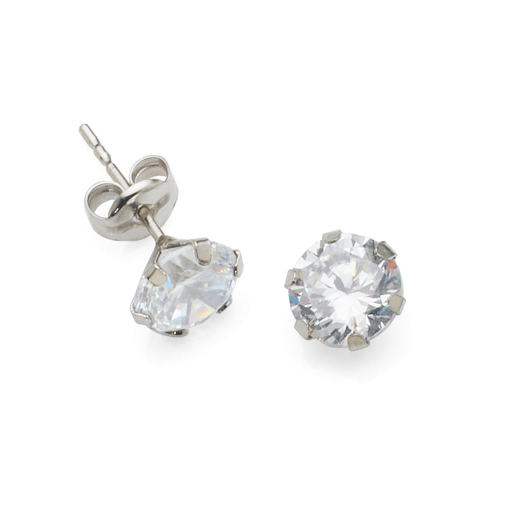 9ct White Gold 6mm Cubic Zirconia Studs