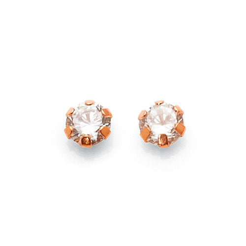9ct Rose Gold 4mm Cubic Zirconia Studs