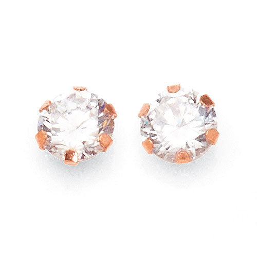 9ct Rose Gold 6mm Cubic Zirconia Studs