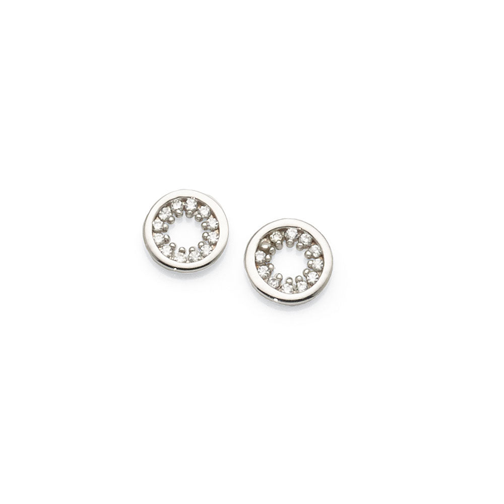 Sterling Silver Cubic Zirconia 7mm Circle Studs