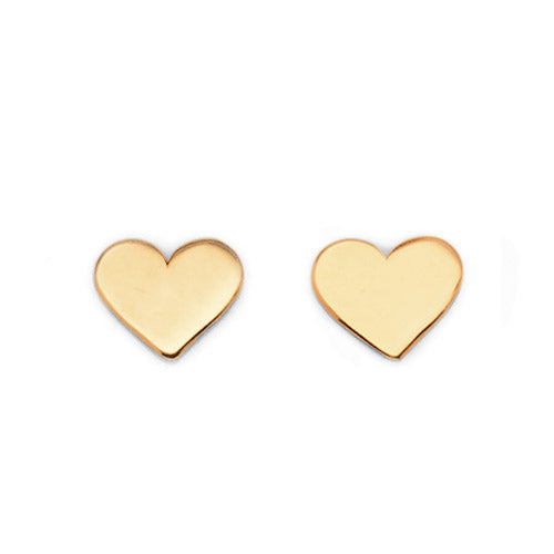 9ct Yellow Gold Heart Plain Flat Studs