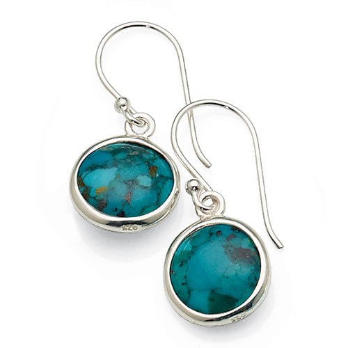 Sterling Silver Created Turquoise Hooks