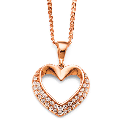 9ct Rose Gold Cubic Zirconia Heart Pendant