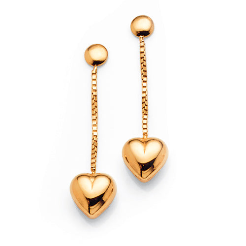 Yellow Gold Bonded Heart Drop Studs