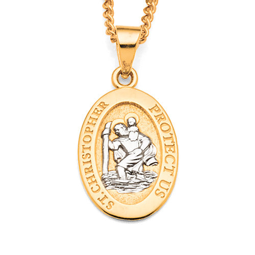 9ct Yellow & White Gold St Christopher Pendant