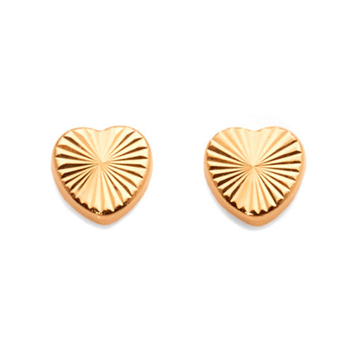 9ct Yellow Gold 5mm Heart Studs