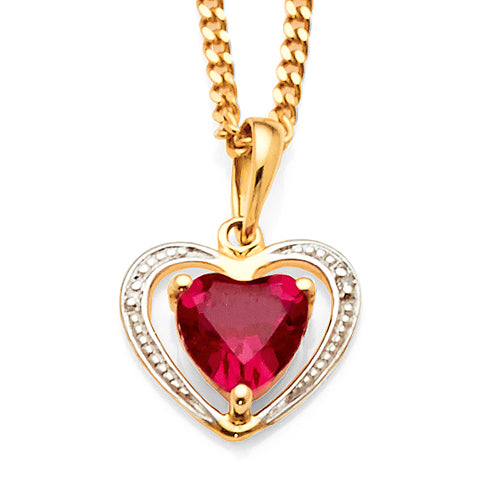 9ct Yellow Gold Created Ruby & Diamond Pendant