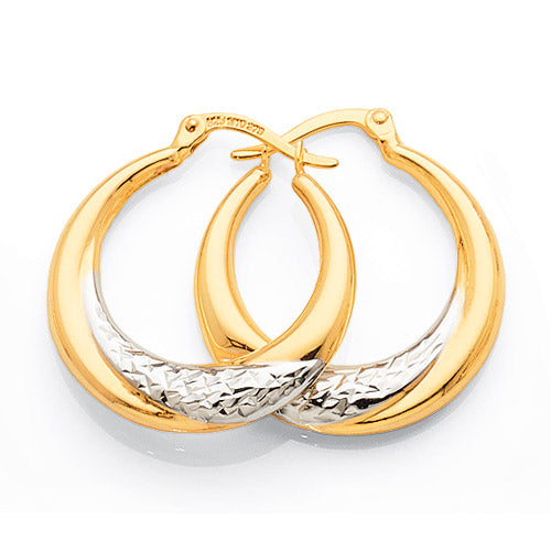 Yellow & White Gold Bonded 2-Tone 17mm Hoops