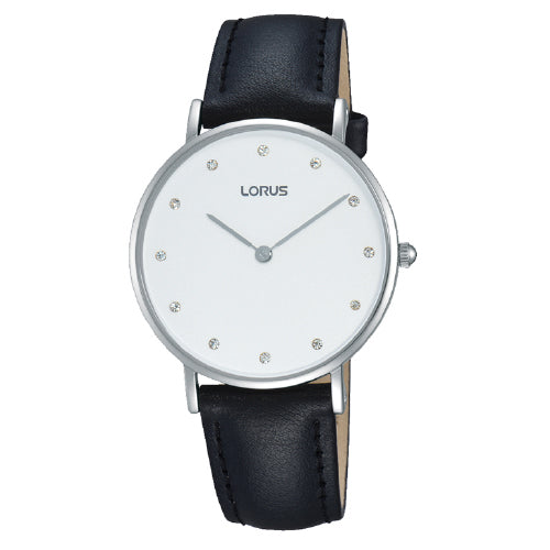 Lorus Black Leather Strap Watch RM201AX-9