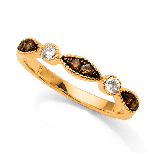 9ct Yellow Gold Cognac & White Diamond Ring