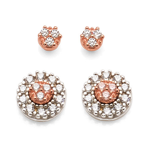 Rose & White Gold Bonded 2-In-1 Studs