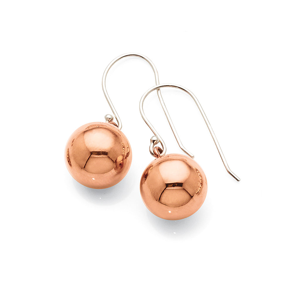 Sterling Silver Rose Tone Ball Hook Earrings