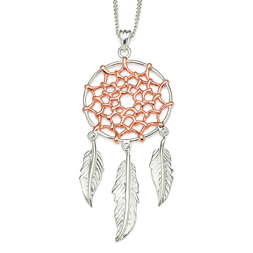 Sterling Silver Rose Tone Dreamcatcher Pendant